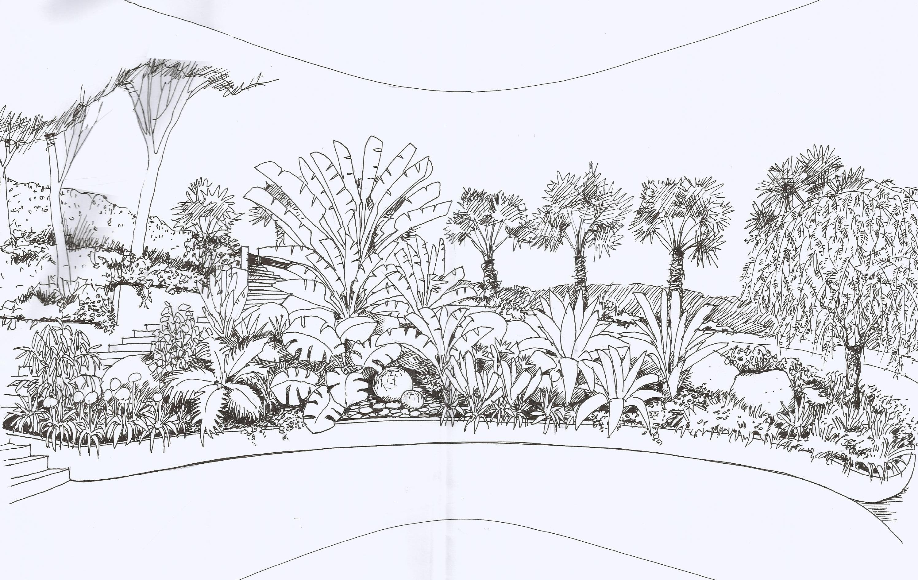 Presentaciones a mano dibujos landshaft empresa de for Jardin dibujo